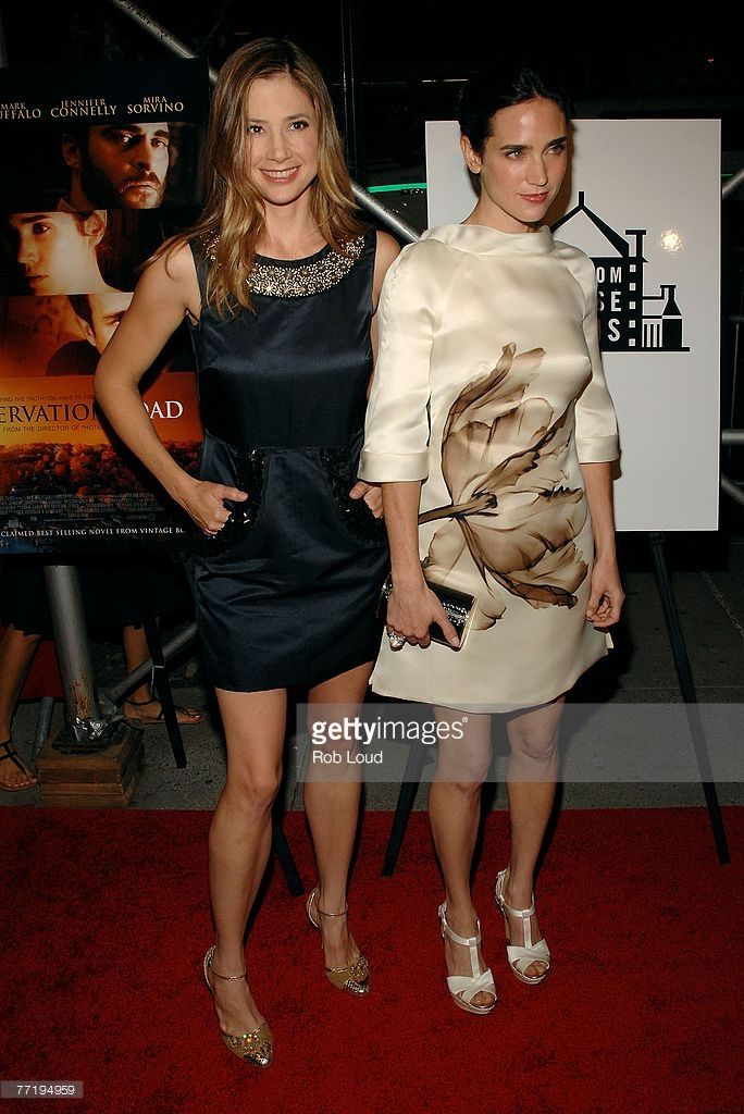 Mira Sorvino and Jennifer Connelly pose at the 'Reservation Road' premeire at the United Artists' 64th St. Theater on October 4, 2007 in New York City.