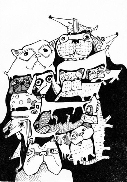 Dog Illustration, Sofie Børsting, en af de flotte illustrationer som vi får i den nye designbutik, Tinga Tango shop and webshop