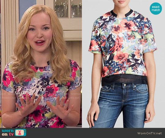Liv's bright floral top on Liv and Maddie.  Outfit Details: http://wornontv.net/53280/ #LivandMaddie