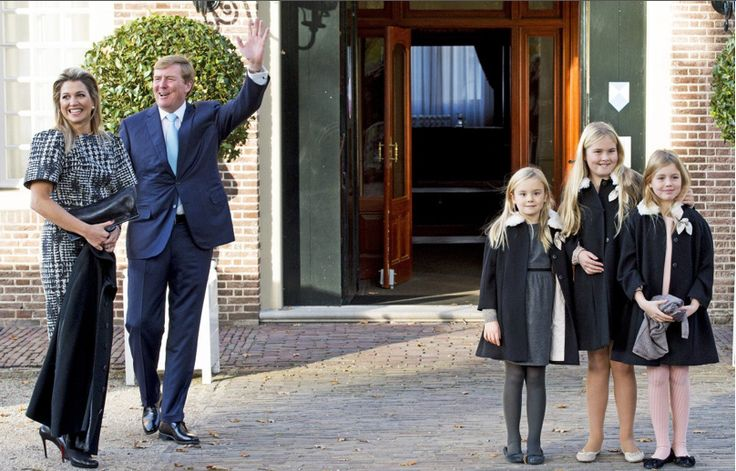Queens & Princesses - Willem Alexander, Maxima and their three daughters attended the baptism of the son of Prince Floris (cousin of the king) and Princess Aimée which took place in Alperdoorn.