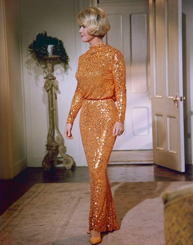 """can't find a picture of this dress with the matching liner in the raincoat, but wow...what a fashion moment (Doris Day, """"Do Not Disturb"""")"""