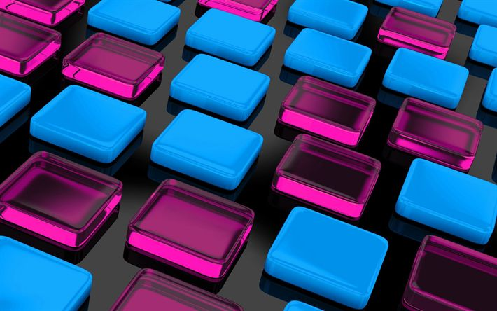 Download wallpapers 3d cubes, rectangles, blue cubes, pink cubes