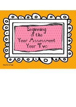 This is a complete assessment for Year Two to be used at the beginning of the school year. Files Include:Cover PageIntroductionCover Page...