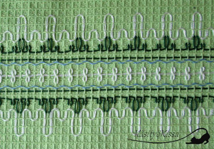 KäsityöKissa: Astiapyyhkeitä vohvelikangas kirjonnalla