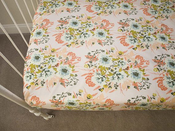 Vintage Shabby Chic Victorian Roses Floral Fitted Crib Sheet