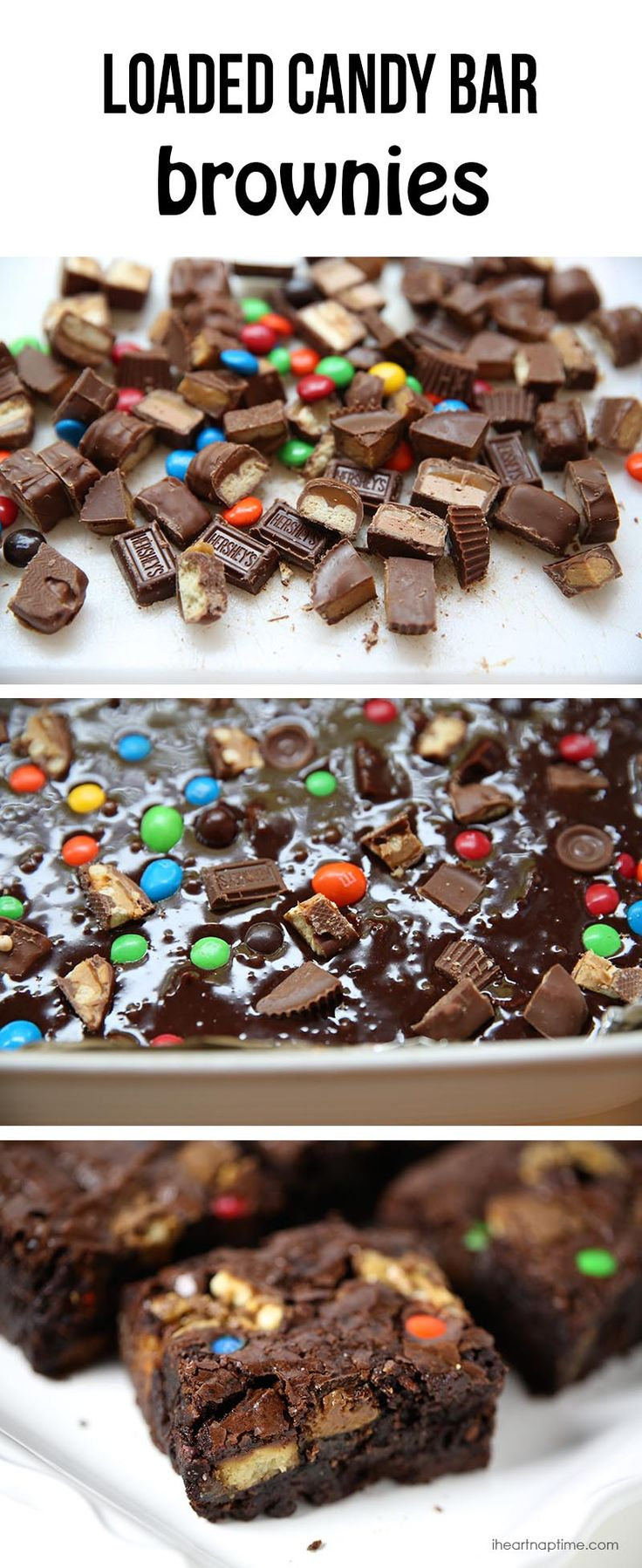 Loaded candy bar brownies on iheartnaptime.com ... great way to use up leftover Halloween candy! #chocolate #recipes