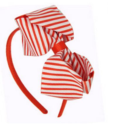 Girls Red and White Striped Headband. perfect for Christmas or a Party. Only $3.99.  Check out our complete range of Girls blue, purple and pink striped headbands at www.duckids.com.au.