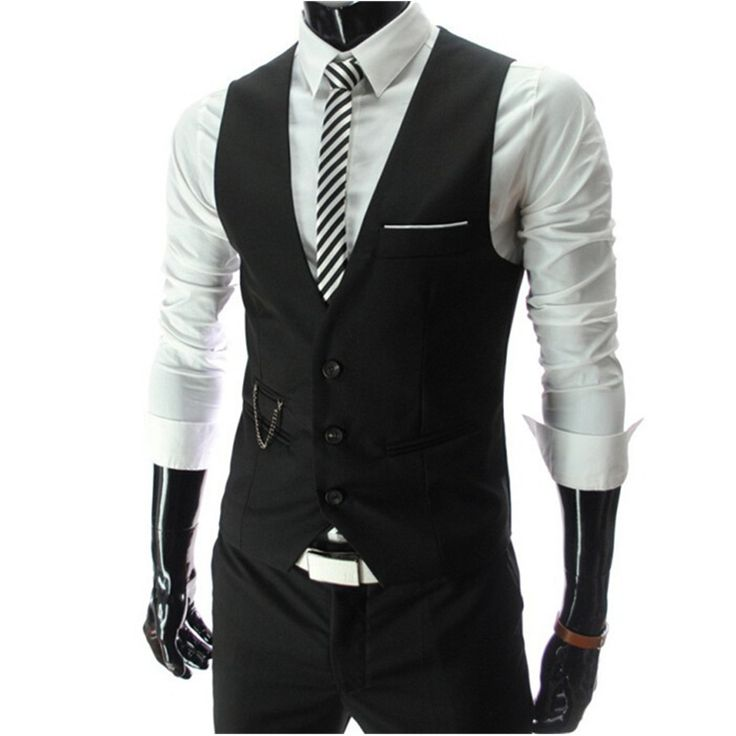 2017 New Arrival Dress Vests For Men Slim Fit Mens Suit Vest Male Waistcoat Gilet Homme Casual Sleeveless Formal Business Jacket //Price: $18.03 & FREE Shipping //     #hashtag2
