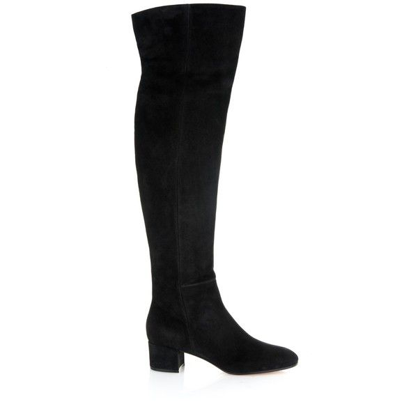 Gianvito Rossi Rolling over-the-knee suede boots ($1,595) ❤ liked on Polyvore featuring shoes, boots, black, over knee suede boots, black suede boots, overknee boots, above-knee boots and round cap