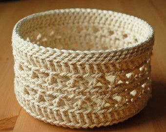 Lace Crochet Basket large by LilibethRose on Etsy