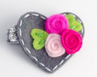 Baby hair clip / girls hair clip Cute roses hair by BunnynBlossom