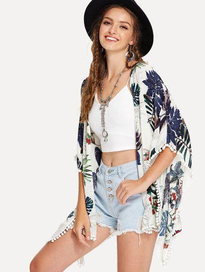 6dcd1588c5 ... White Kimono Cover Up. Shop Pom Pom Trim Tropical Kimono online. SheIn  offers Pom Pom Trim Tropical Kimono & more to fit your fashionable needs.