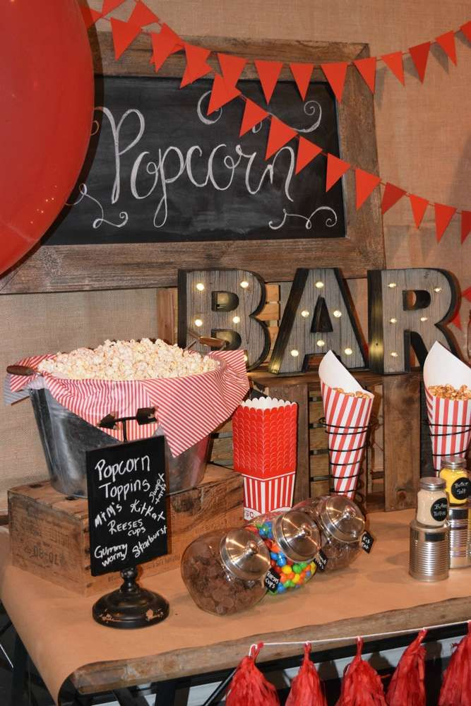 Vintage popcorn birthday party! See more party ideas at CatchMyParty.com!