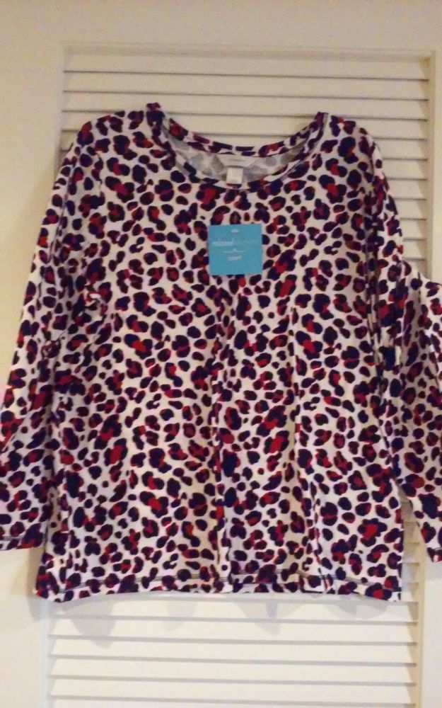 $39.99 CJ Banks Womans X, 1X, or 2X Relaxed Fit Animal Print Long Sleeve Top NWT #ChristopherBanks #LongSleeveKnit