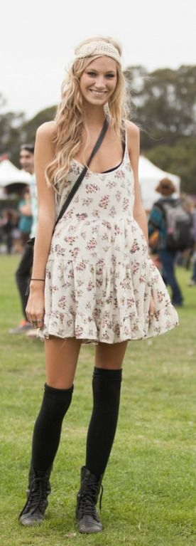 black thigh-high socks and a floral dress make for a nice contrast
