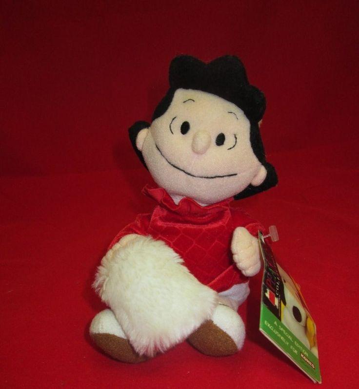 Kohls Peanuts Gang Lucy Bean Bag Doll Red Dress White Muff Plush Xmas Toy Applause
