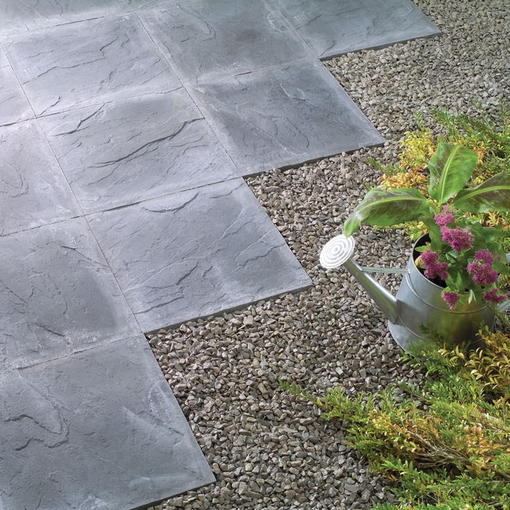 Patio Ideas With Existing Concrete Slab: Riven Paving Slab Charcoal 45 X 45cm Pack Of 56