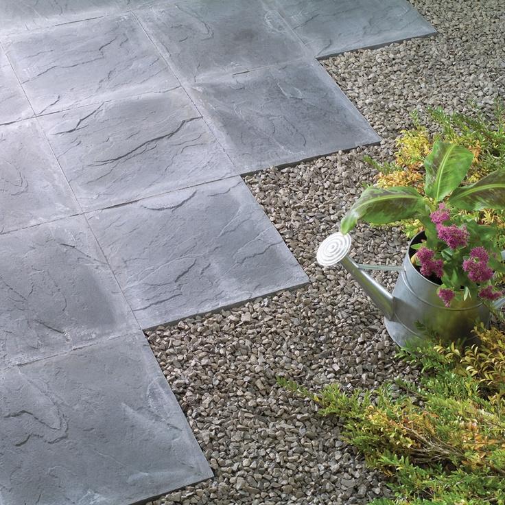 Riven paving slab charcoal 45 x 45cm pack of 56 paving for Garden slab designs