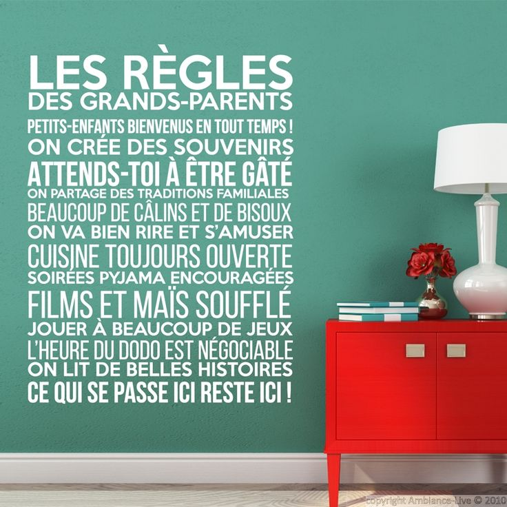 Sticker Les règles des grands-parents – Stickers Citations Français - Ambiance-sticker