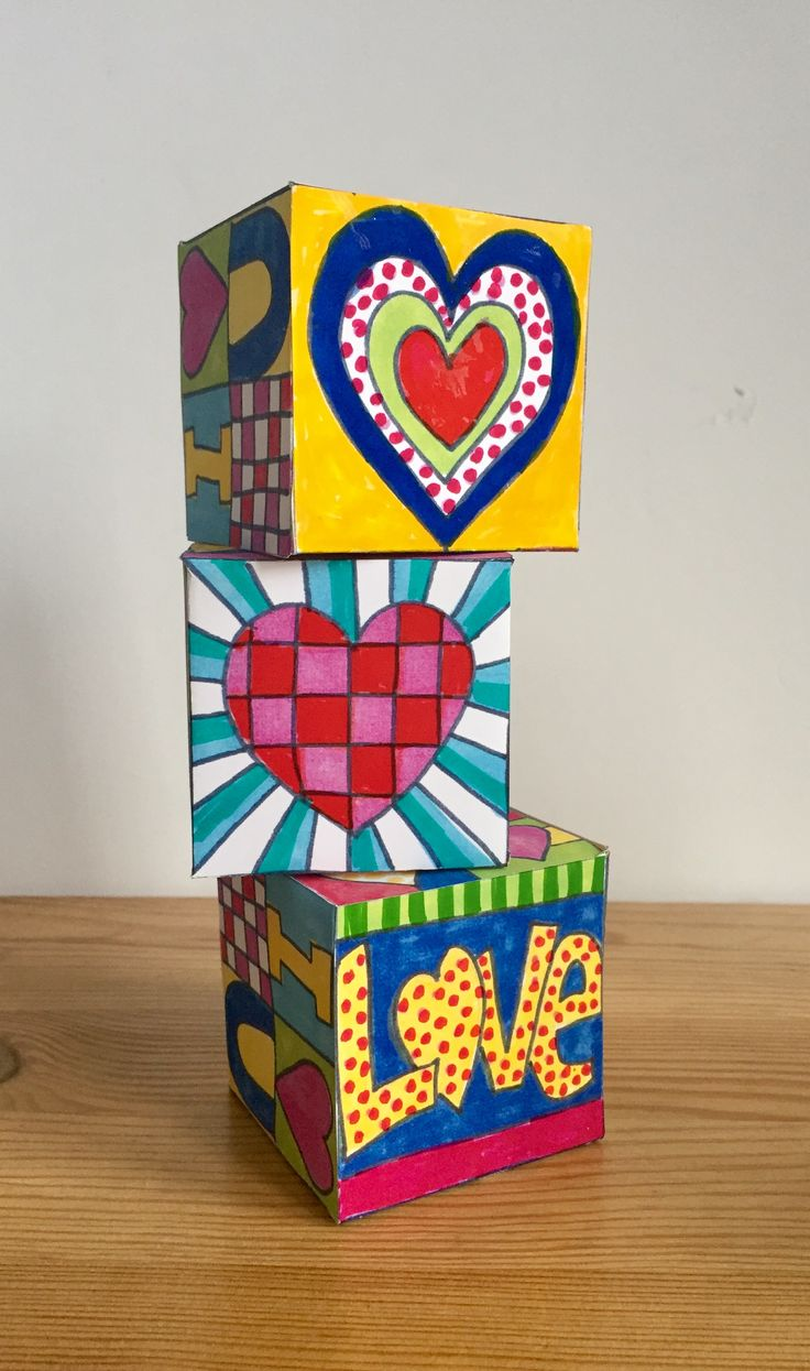 Fun Valentine's Day Pop Art inspired activity for kids. download pack includes a lidded box template to colour and fun mini cards and hearts to put inside.