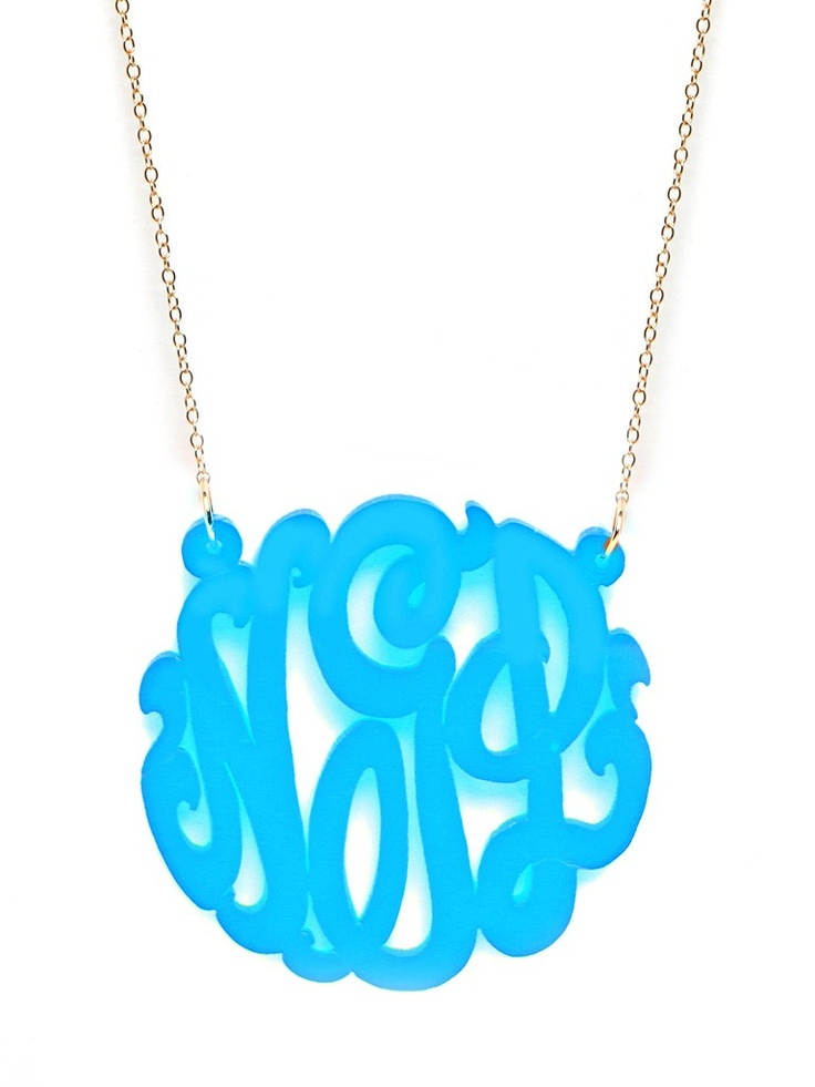 Acrylic Monogram - Medium  (I ordered Navy with Silver Chain)