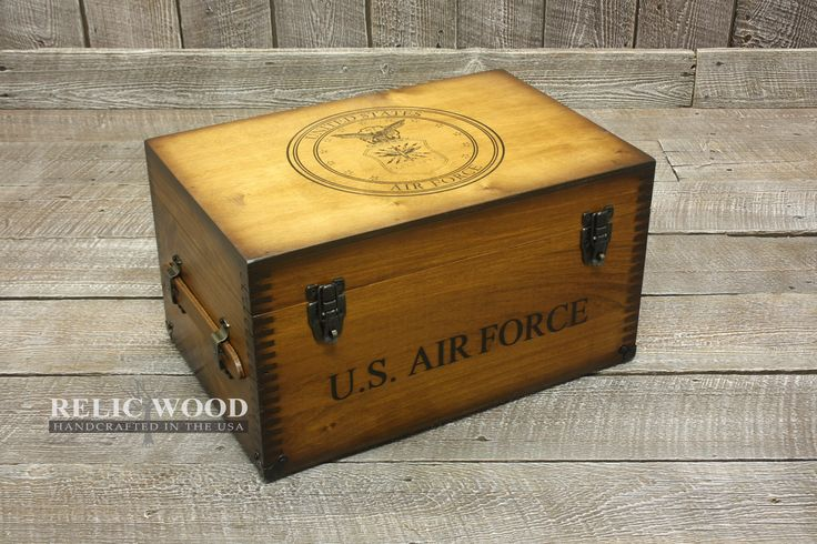 """Officially Licensed Air Force Keepsake Box. With the US Air Force seal emboss printed and U.S. Air Force text on this chest, it's the perfect gift for a veteran or active service person.  Includes: US Air Force text on the front and the US Air Force seal embossed on the top and an inside tray.  Additional Options: Nameplate, felt shadowbox, challenge coin holder, US flag holder, flag plaque, and 5X7 plaque. Adding these options to our """"In Stock"""" Keepsake Boxes WILL NOT affect the t..."""