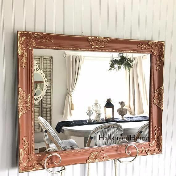 Orange Bathroom Mirror Gold Ornate Details. Custom Colors Available. Design your own beautiful french shabby chic style Vanity Mirror. #vanitymirror #bathroommirror #custommirror #frenchmirror #shabbychicmirror #cottagestylemirror #handpaintedmirror #chalkpaintedmirror #hallstromhome #handmademirror #mirrorshop #Orangemirror #ornatemirror #baroquemirror #frenchnordic #modernfarmhouse #farmhousemirror