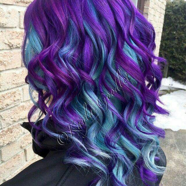 Purple top and blue hair under