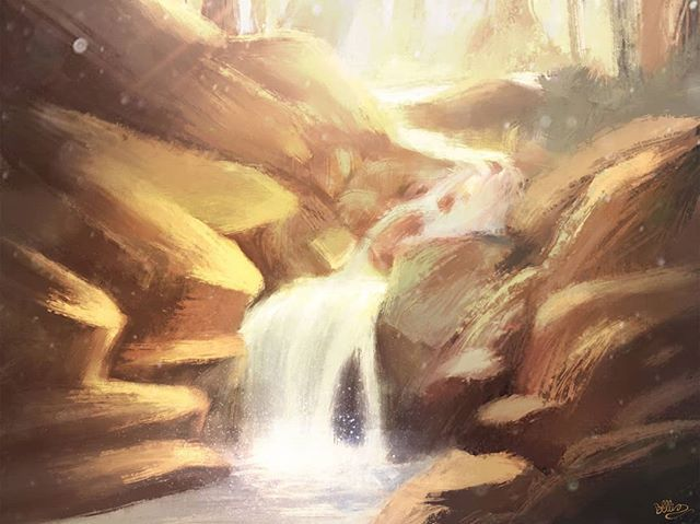 Somewhere in Africa  #illustration #art #digitalart #painting #waterfall #african #africa #trees #nature