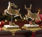 "Christmas Stocking Holders For Mantle | Set of 2 Joseph's Studio Victorian Inspirations Reindeer Christmas Stocking Holders 8.5"""