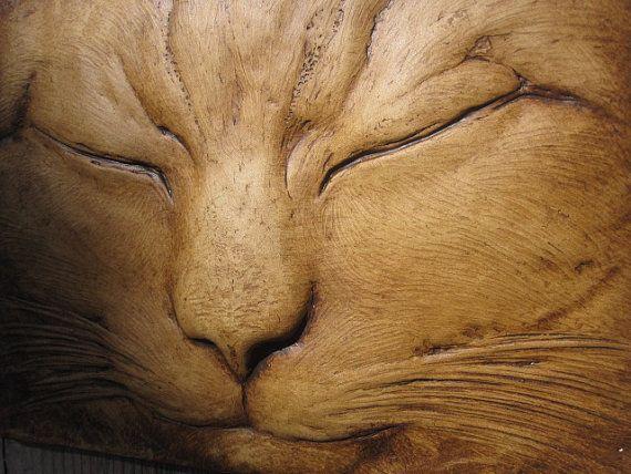 Max the Sleeping Cat  Wallsculpture Pet Portrait Art Gift