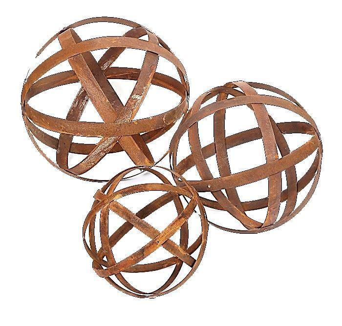 Australian Rusted Sculptural Ball Set of 3 Garden Art Sculpture #gardenart #gardensculpture