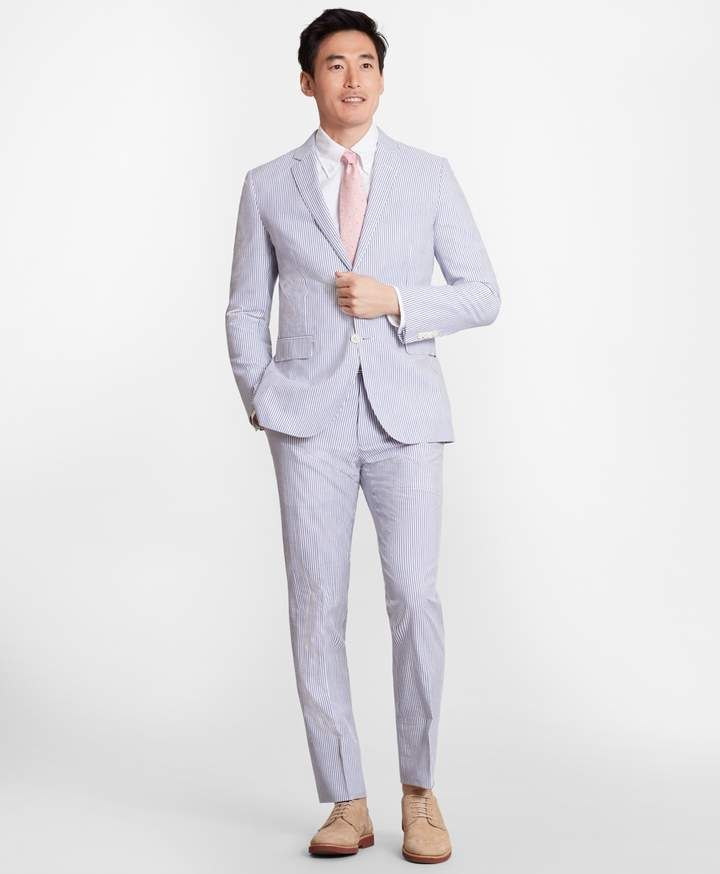 Milano Fit Stripe Seersucker Suit Seersucker Suit Mens Outfits