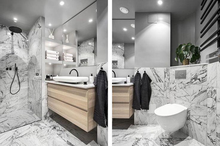 Härligt badrum med marmor från golv till tak. #marble - Roomly.se heminredning på nätet