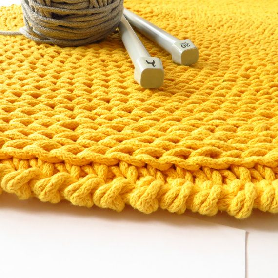 Round Cotton Rug / Yellow Crochet Rug / Yellow by delinskadesign