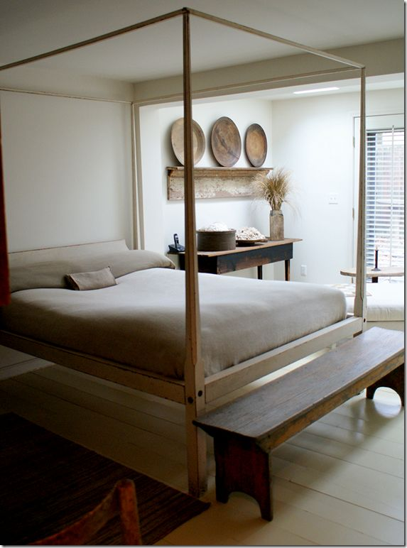 Modern Country Bedroom By Gloria Oviatt. LOVE This Bed And The Minimalist/ Modern Meets Rustic Style.