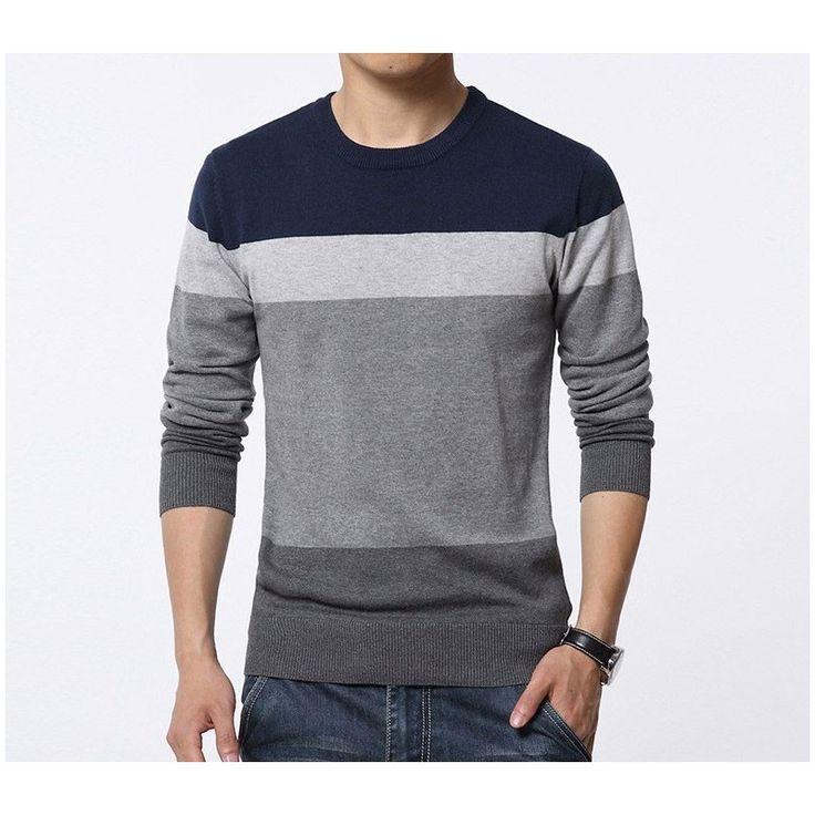Camiseta Blusão Listrada de Inverno Masculina Manga Longa em Lã Mais