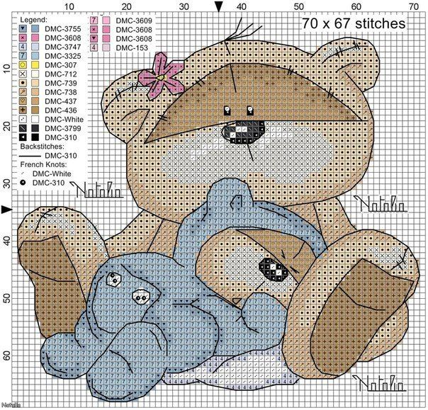 Precious bear w/baby in lap FREE chart, but no finished picture photo...on site