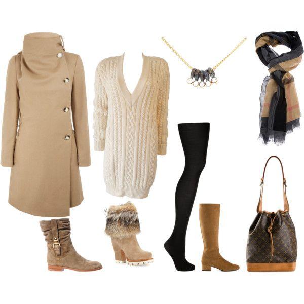 FW - D - SWEATER DRESS - TIGHTS - COAT - BOOTS - BLACK & CAMEL