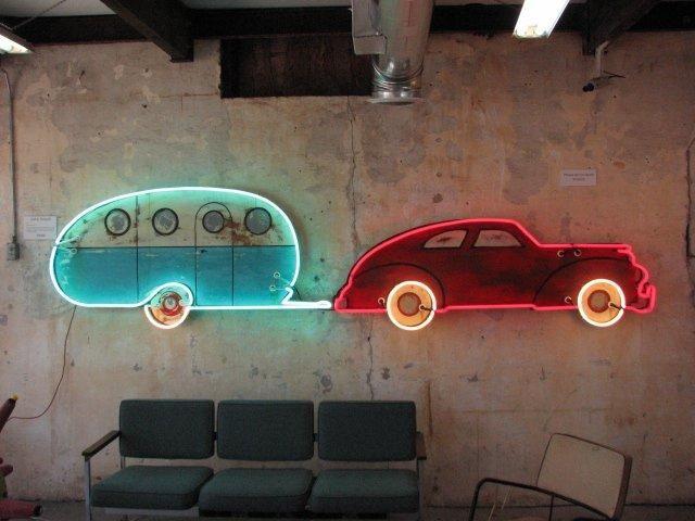 todd sanders, roadhouse relics, neon austin, neon sign, neon artcar and trailer, neon car and trailer, road trip neon,