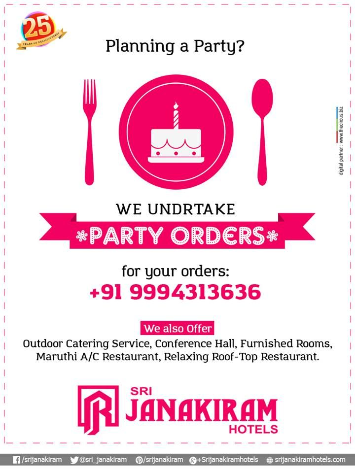 Planning for a party? We, #Srijanakiram_Hotels undertake your PARTY ORDERS. Celebrate your memorable moments with us! For your orders : +91 9994313636. We also offer: Outdoor catering service, Conference Halls, Maruti A/C restaurant, Rooftop Restaurant.