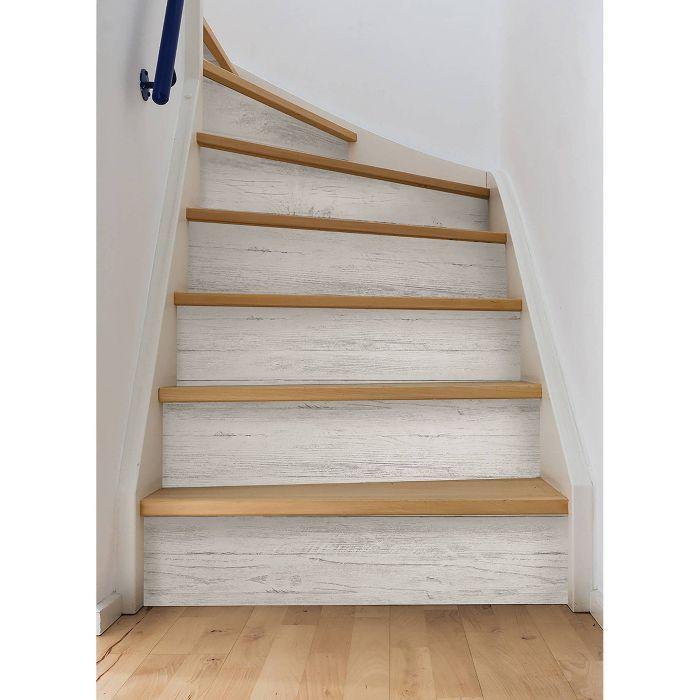 Nuwallpaper Shiplap Peel Stick Wallpaper White In 2021 Stair Makeover Wallpaper Stairs Basement Remodeling