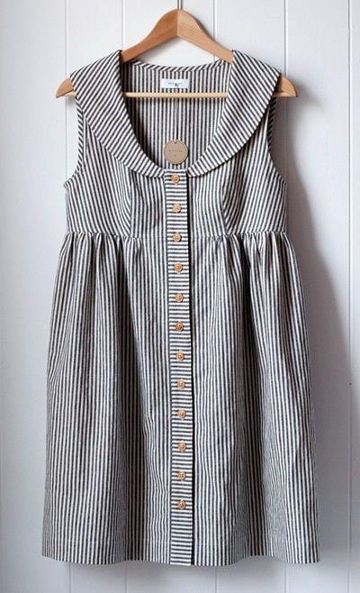 Striped sleeveless tunic top. Perfect for a button down shirt refashion. Cute collar.