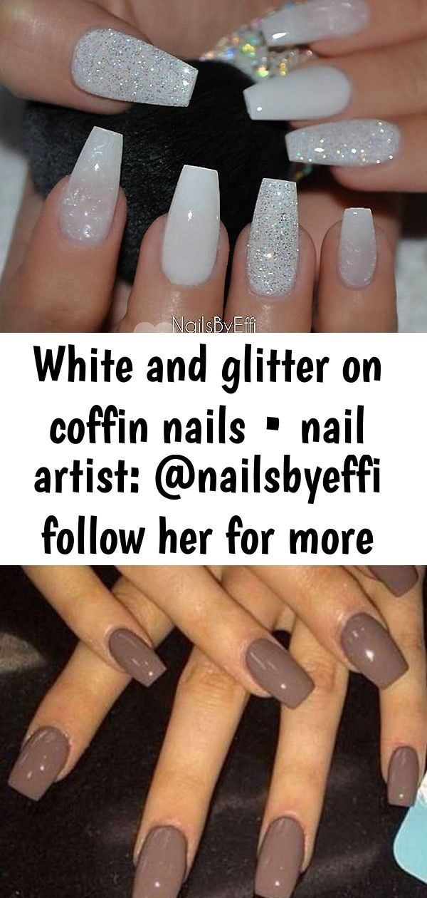 White And Glitter On Coffin Nails Nail Artist Nailsbyeffi Follow Her For More Gorgeous Nail Ar 4 Gorgeous Nails Nails Coffin Nails