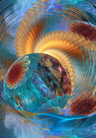 Awesome fractal art in blue and golden colors ... Desirée Glanville