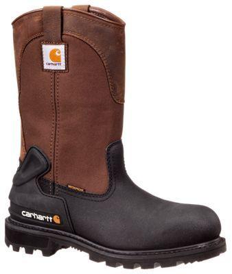Carhartt Core 11'' Insulated Waterproof Steel Toe Wellington Work Boots for Men - Bison/Brown - 11.5M