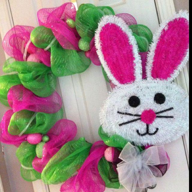 Easter Bunny Deco mesh wreath!