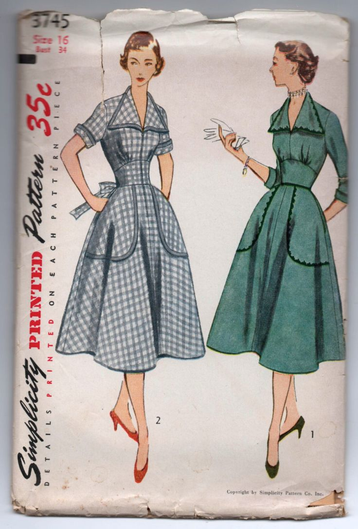 """1950's Simplicity One-Piece Afternoon Dress with Oversize Pockets pattern - Bust 34"""" - No. 3745 by backroomfinds on Etsy https://www.etsy.com/listing/264486329/1950s-simplicity-one-piece-afternoon"""