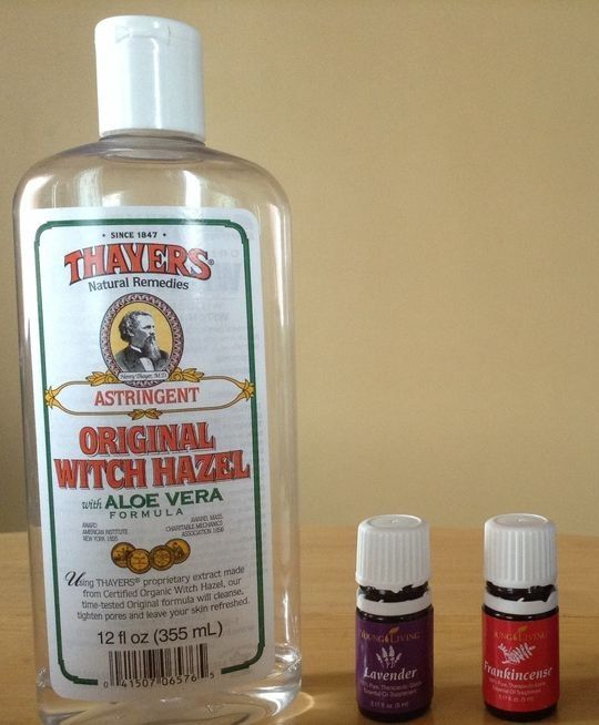 Healthy, soothing facial toner made from Thayers Witch Hazel; Young Living Frankincense and Young Living Lavender.  Add 15 drops of lavender and 15 drops of frankincense to Thayers Original Witch Hazel. Always shake before using to make sure it is mixed thoroughly. You can use this as a spritzer too, for tired skin, after being in the sun too long, or if you have jet lag. After using it for a few days, you will see a noticeable difference in your skin.   Your skin will thank you!