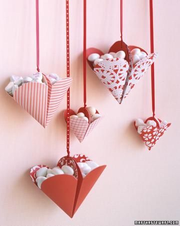 Valentine's Day Crafts // Bonbon-Filled Hearts How-To: Valentines Crafts, Treats Holders, Gift, Hanging Heart, Idea, Paper Heart, Martha Stewart, Valentines Day Crafts, Valentines Treats